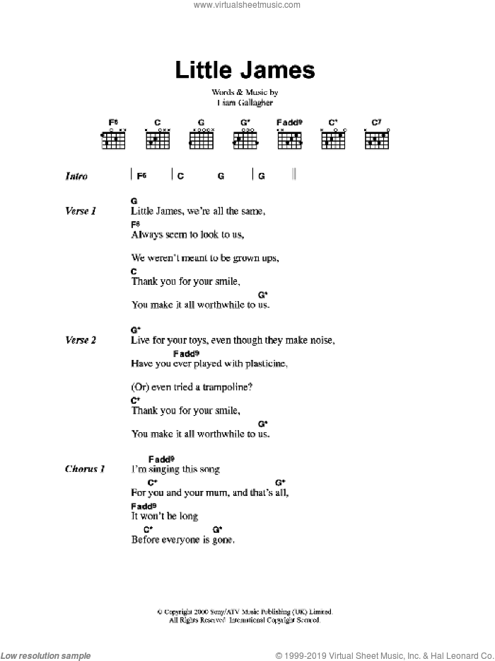 Little James sheet music for guitar (chords) by Oasis, intermediate. Score Image Preview.