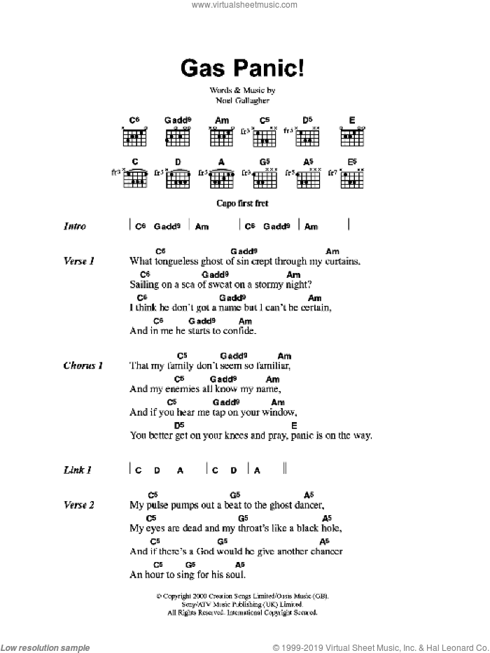 Gas Panic! sheet music for guitar (chords) by Noel Gallagher