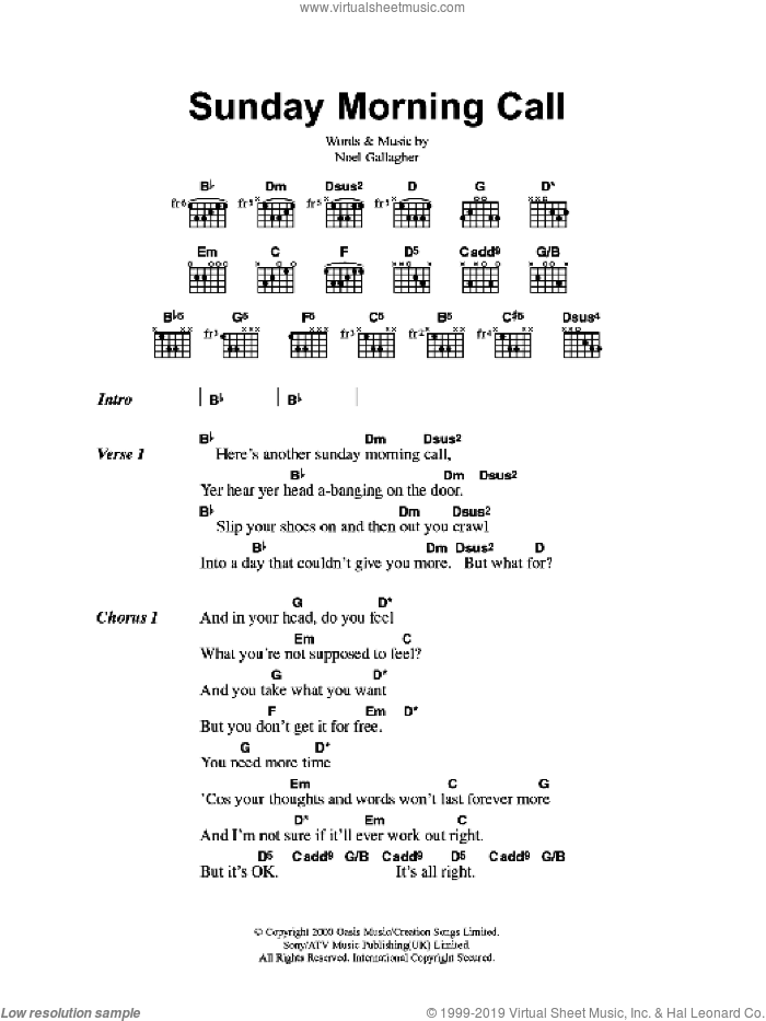 Sunday Morning Call sheet music for guitar (chords) by Oasis and Noel Gallagher, intermediate. Score Image Preview.