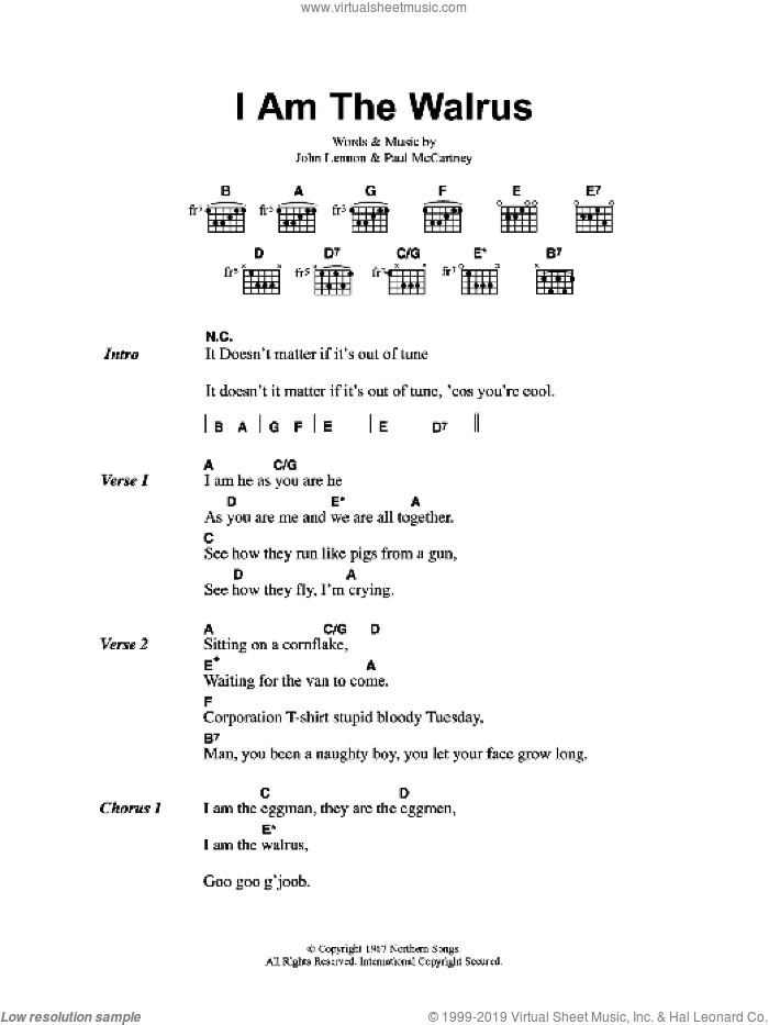I Am The Walrus sheet music for guitar (chords, lyrics, melody) by John Lennon