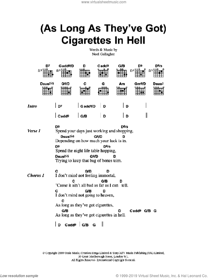 (As Long As They've Got) Cigarettes In Hell sheet music for guitar (chords) by Oasis and Noel Gallagher, intermediate guitar (chords). Score Image Preview.