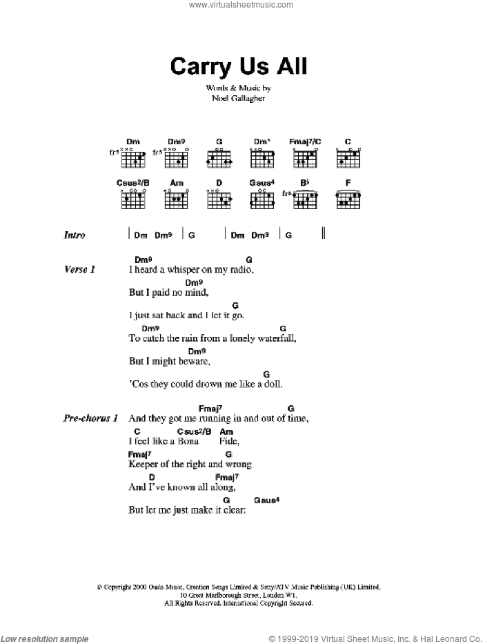 Carry Us All sheet music for guitar (chords, lyrics, melody) by Noel Gallagher