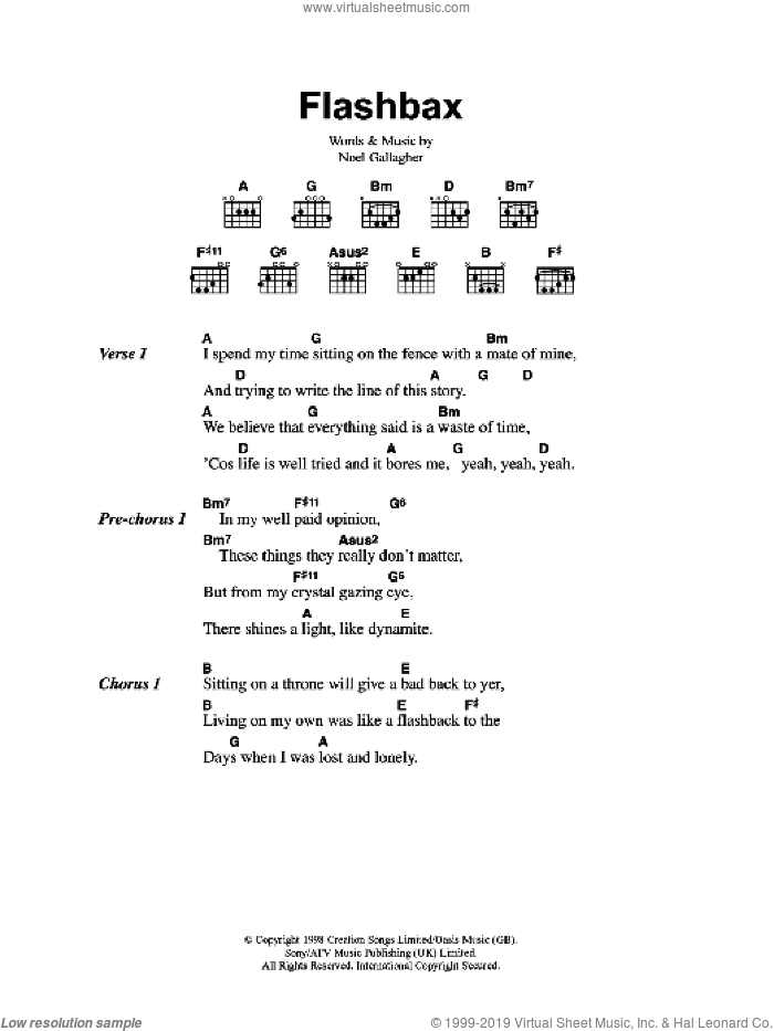 Flashbax sheet music for guitar (chords) by Noel Gallagher
