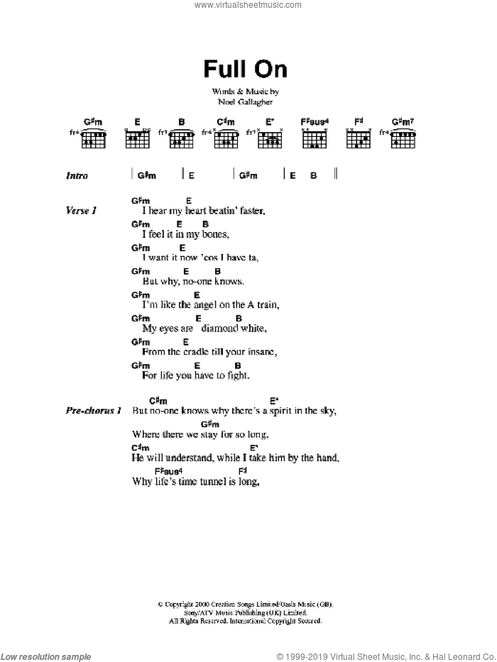 Full On sheet music for guitar (chords) by Noel Gallagher
