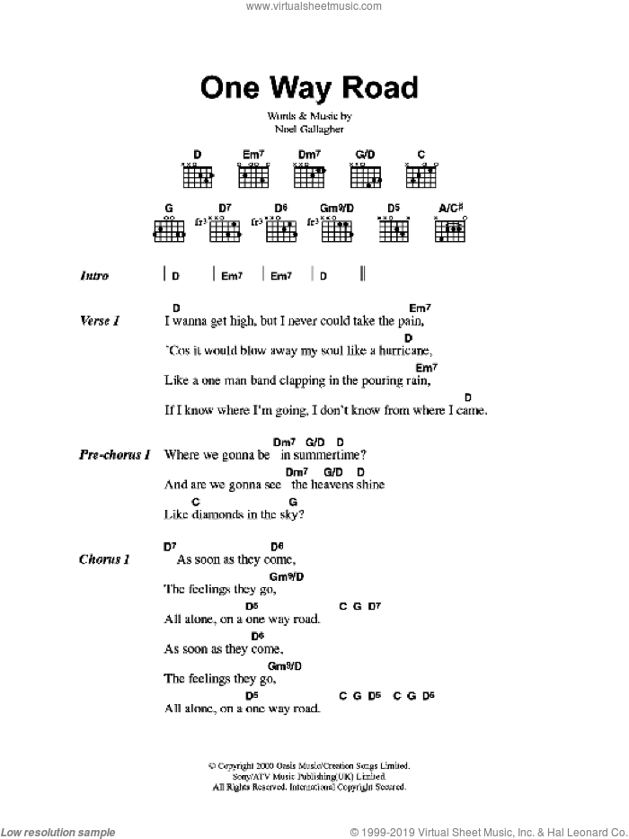One Way Road sheet music for guitar (chords) by Oasis and Noel Gallagher, intermediate guitar (chords). Score Image Preview.
