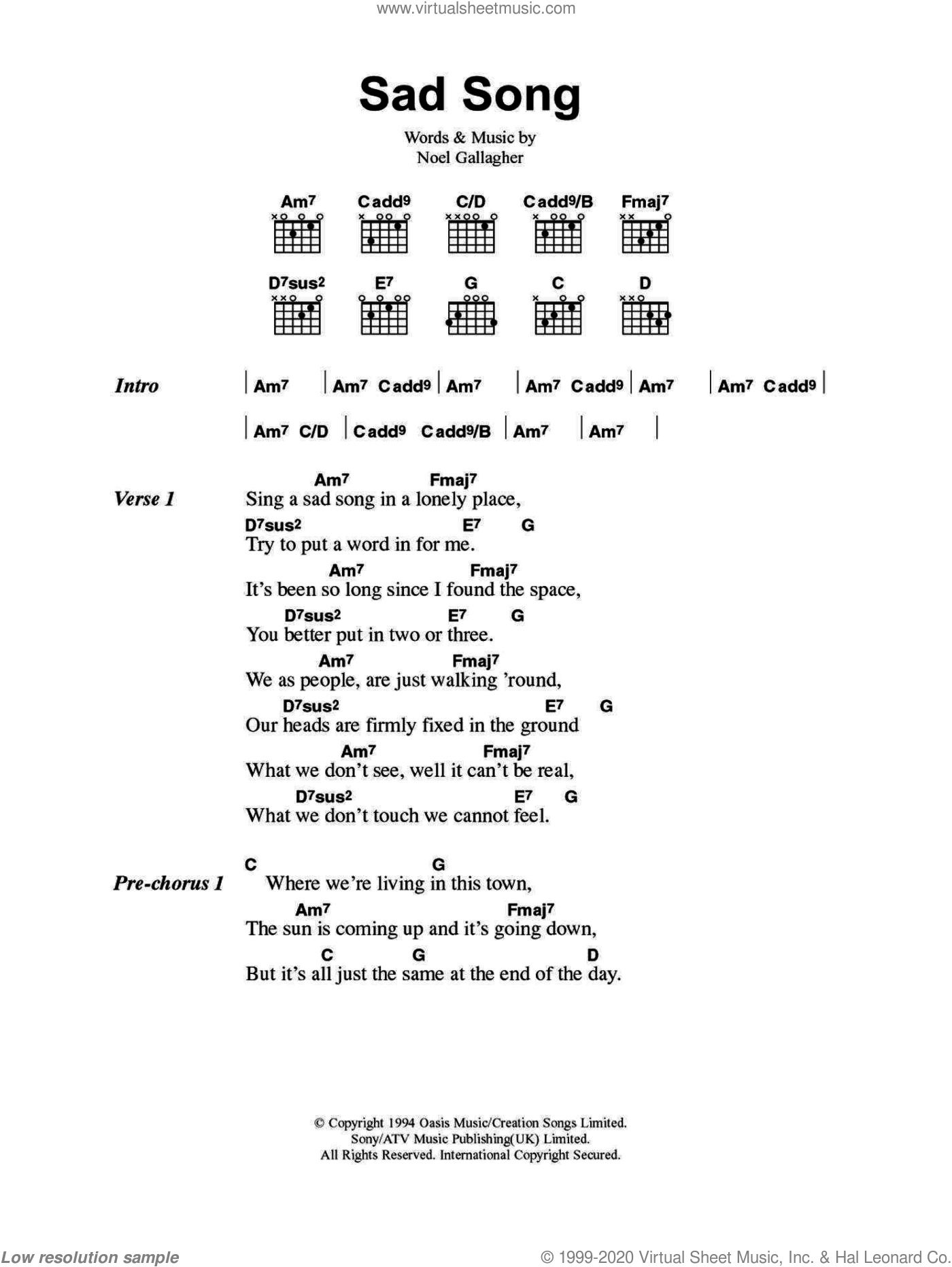 Oasis - Sad Song sheet music for guitar (chords) [PDF]
