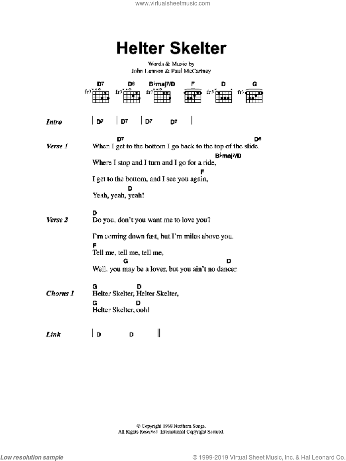 Helter Skelter sheet music for guitar (chords) by John Lennon