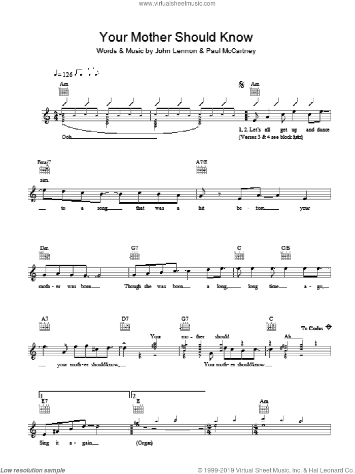 Your Mother Should Know sheet music for voice and other instruments (fake book) by The Beatles, John Lennon and Paul McCartney, intermediate skill level