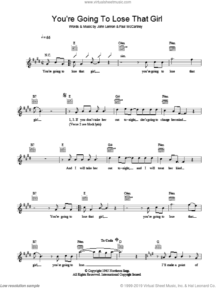 You're Going To Lose That Girl sheet music for voice and other instruments (fake book) by John Lennon, The Beatles and Paul McCartney. Score Image Preview.