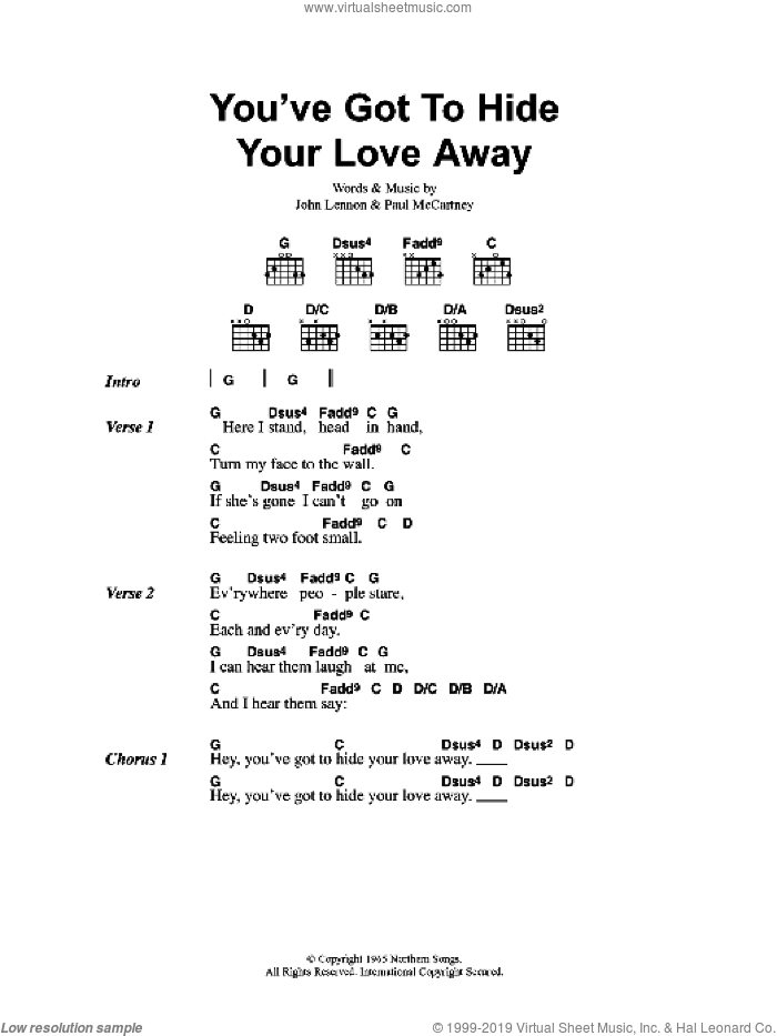 You've Got To Hide Your Love Away sheet music for guitar (chords) by Barry Mann, Oasis, The Beatles, Cynthia Weil, John Lennon, Paul McCartney and Phil Spector. Score Image Preview.