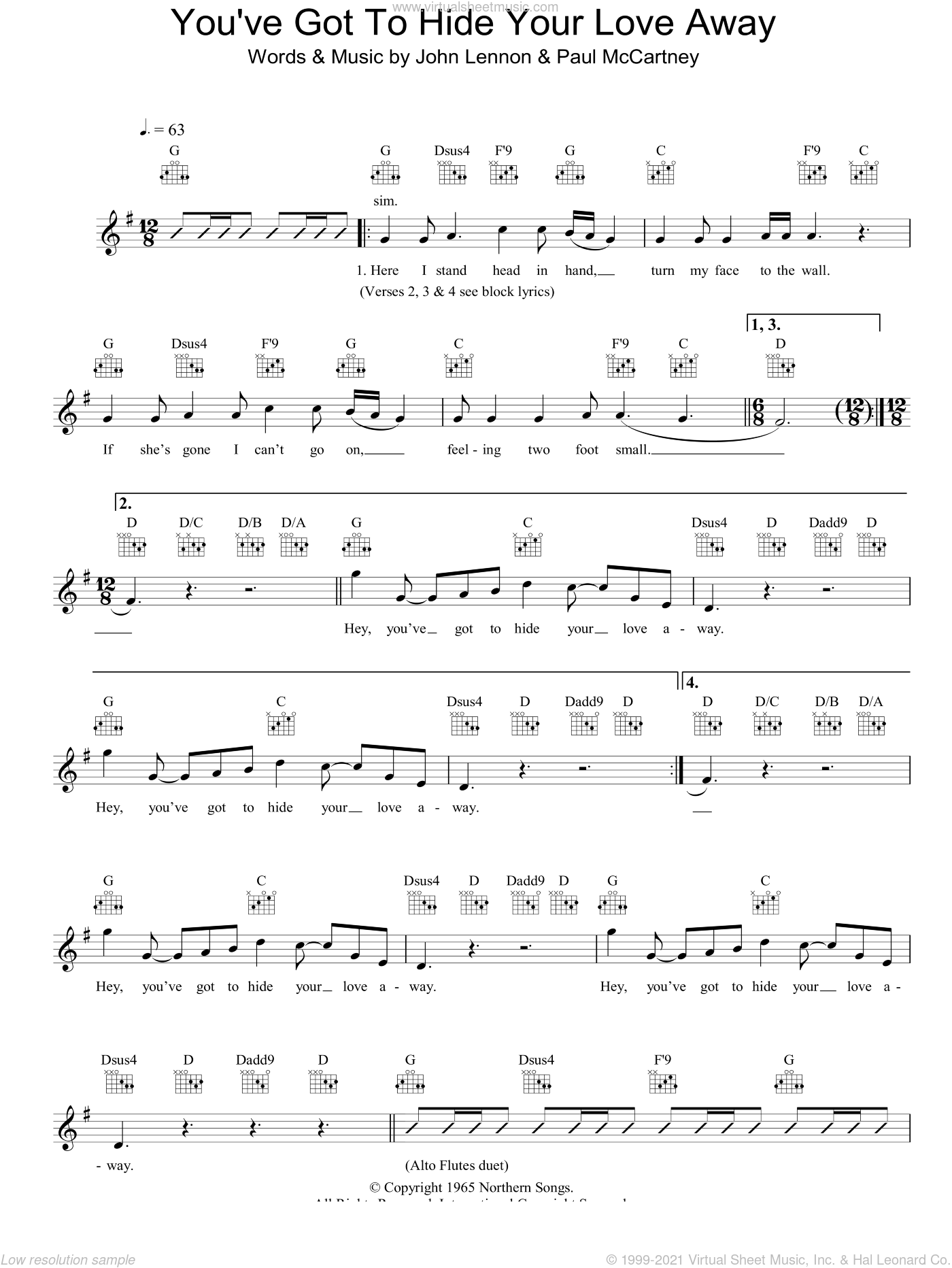 You've Got To Hide Your Love Away sheet music for voice and other instruments (fake book) by The Beatles, Barry Mann, Cynthia Weil, John Lennon, Paul McCartney and Phil Spector, intermediate skill level