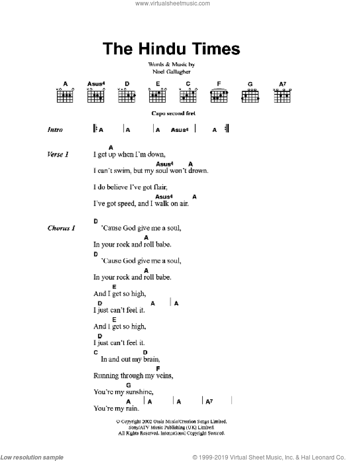 The Hindu Times sheet music for guitar (chords) by Oasis and Noel Gallagher, intermediate skill level