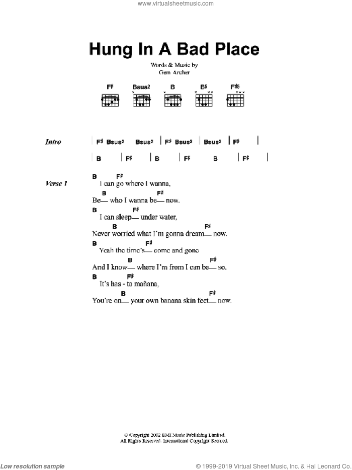 Hung In A Bad Place sheet music for guitar (chords) by Oasis. Score Image Preview.