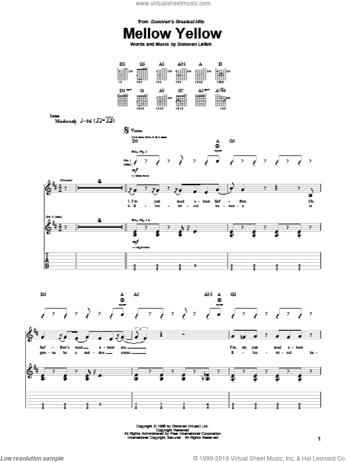 Mellow Yellow sheet music for guitar (tablature) by Donovan Leitch and Walter Donovan. Score Image Preview.