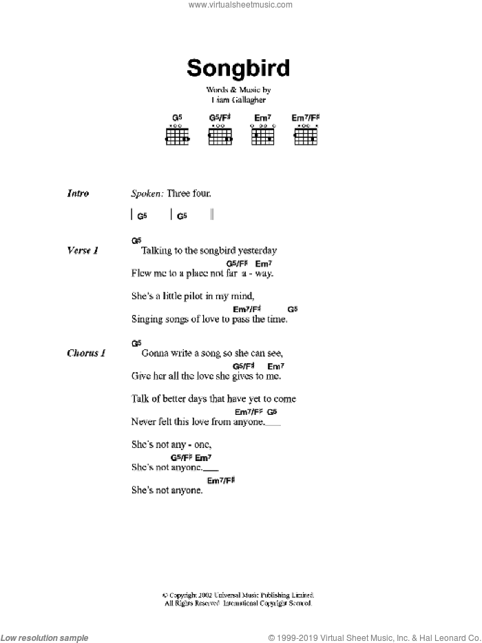 Songbird sheet music for guitar (chords) by Oasis and Liam Gallagher, intermediate skill level