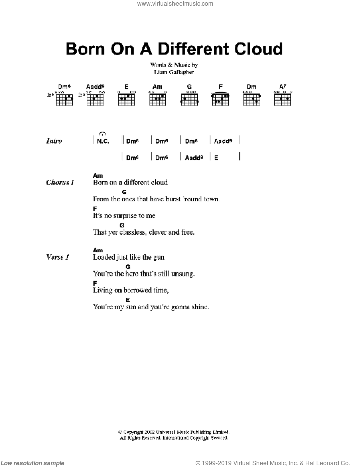 Born On A Different Cloud sheet music for guitar (chords, lyrics, melody) by Liam Gallagher