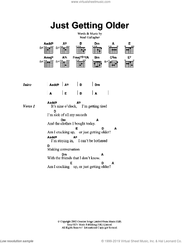 Just Getting Older sheet music for guitar (chords) by Oasis and Noel Gallagher. Score Image Preview.