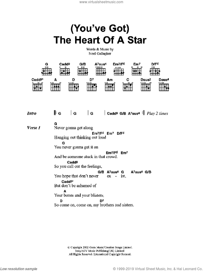 You've Got The Heart Of A Star sheet music for guitar (chords) by Noel Gallagher and Oasis. Score Image Preview.