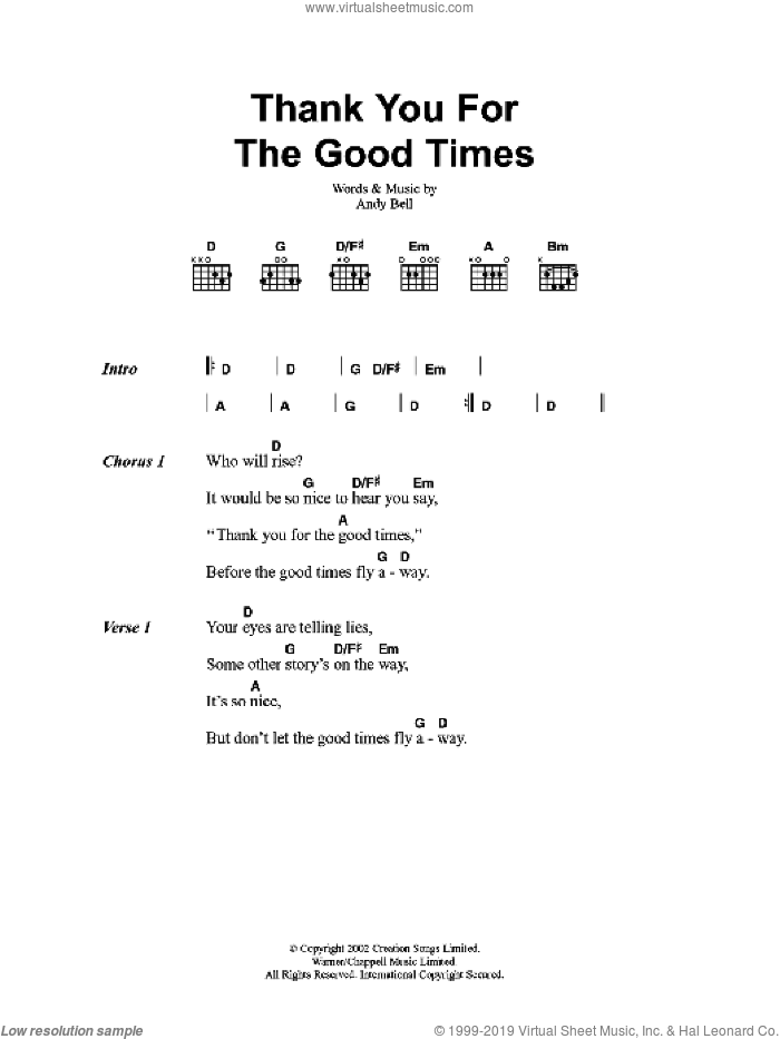 Thank You For The Good Times sheet music for guitar (chords) by Oasis and Andy Bell, intermediate skill level