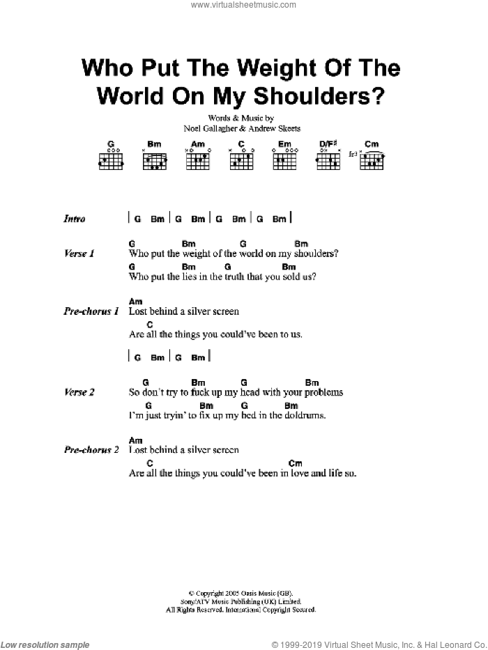 Who Put The Weight Of The World On My Shoulders? sheet music for guitar (chords) by Oasis, Andrew Skeets and Noel Gallagher, intermediate skill level