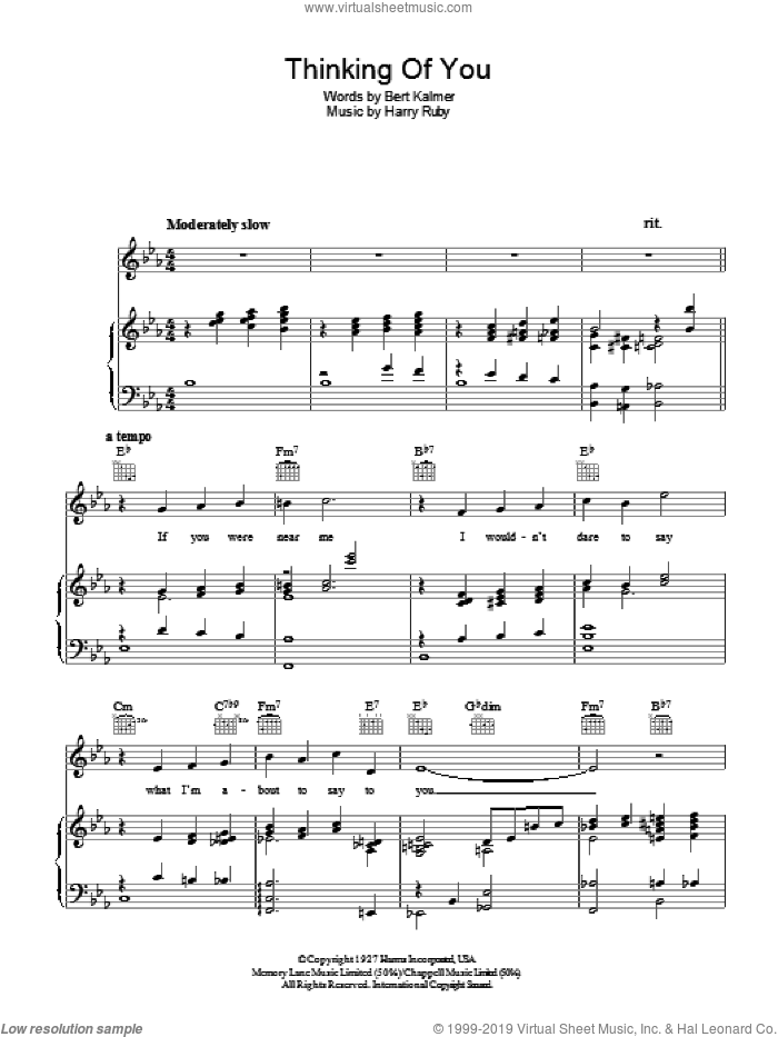 Thinking Of You sheet music for voice, piano or guitar by Bert Kalmer and Harry Ruby, intermediate. Score Image Preview.