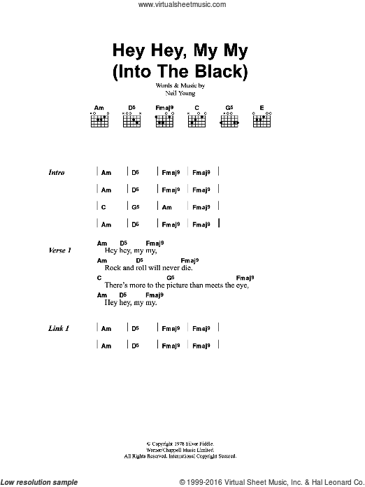 Hey Hey, My My (Into The Black) sheet music for guitar (chords) by Neil Young and Oasis. Score Image Preview.