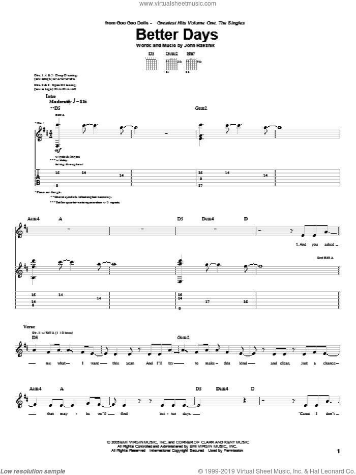 Better Days sheet music for guitar (tablature) by John Rzeznik. Score Image Preview.