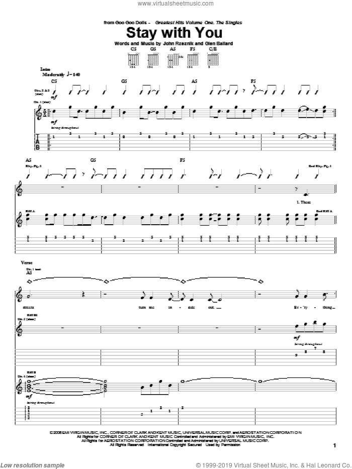 Stay With You sheet music for guitar (tablature) by Goo Goo Dolls, Glen Ballard and John Rzeznik, intermediate guitar (tablature). Score Image Preview.