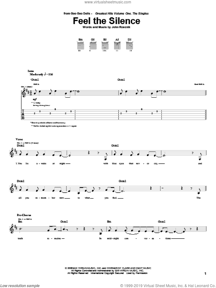 Feel The Silence sheet music for guitar (tablature) by Goo Goo Dolls and John Rzeznik, intermediate guitar (tablature). Score Image Preview.