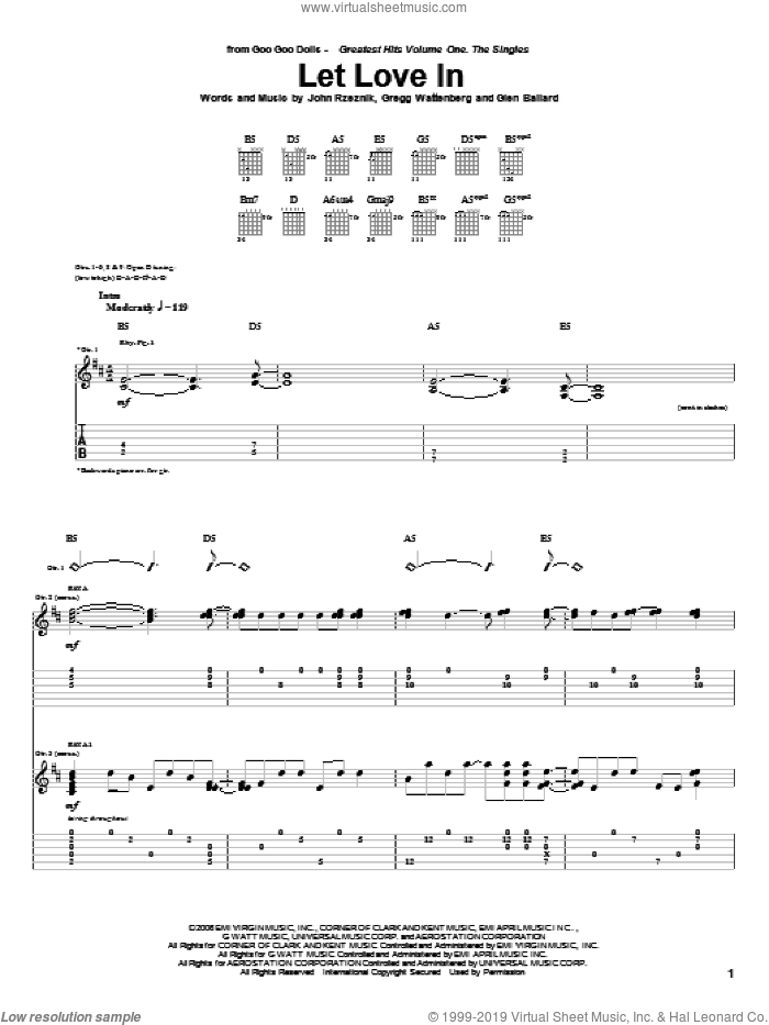 Let Love In sheet music for guitar (tablature) by John Rzeznik
