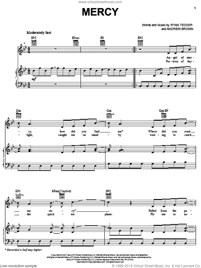 Mercy sheet music for voice, piano or guitar by OneRepublic, Andrew Brown and Ryan Tedder, intermediate skill level