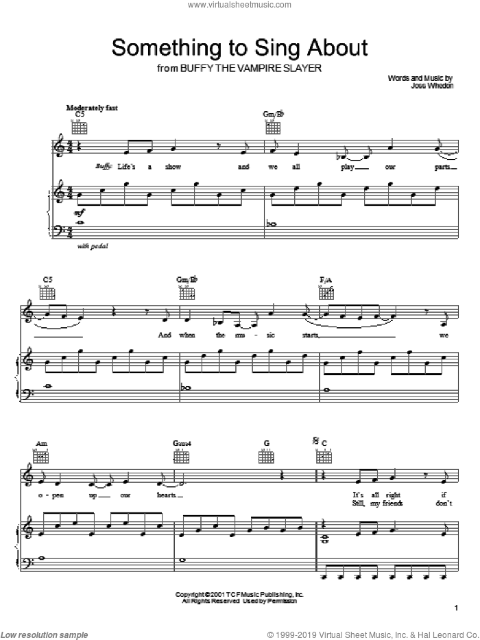Something To Sing About sheet music for voice, piano or guitar by Joss Whedon and Buffy The Vampire Slayer (TV Series), intermediate skill level