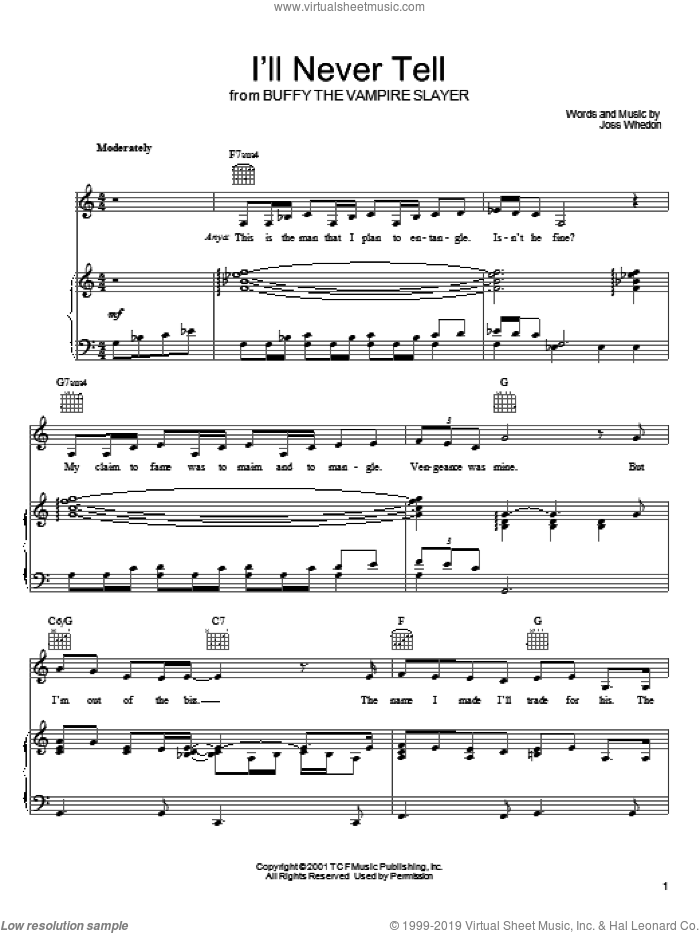 I'll Never Tell sheet music for voice, piano or guitar by Joss Whedon and Buffy The Vampire Slayer (TV Series), intermediate skill level