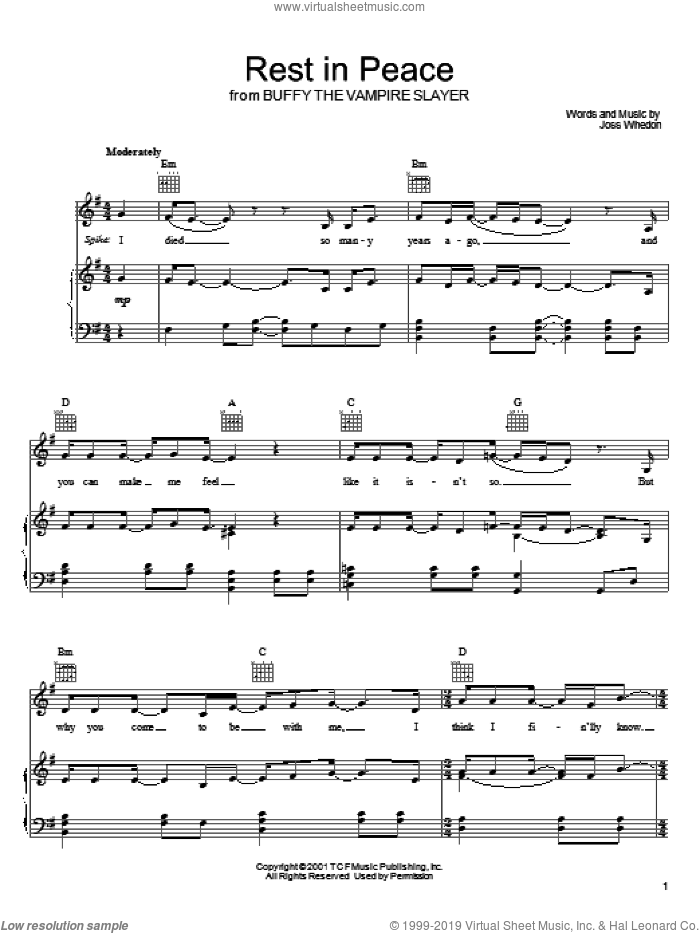Rest In Peace sheet music for voice, piano or guitar by Joss Whedon. Score Image Preview.