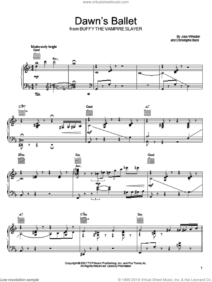 Dawn's Ballet sheet music for voice, piano or guitar by Joss Whedon and Christophe Beck, intermediate voice, piano or guitar. Score Image Preview.