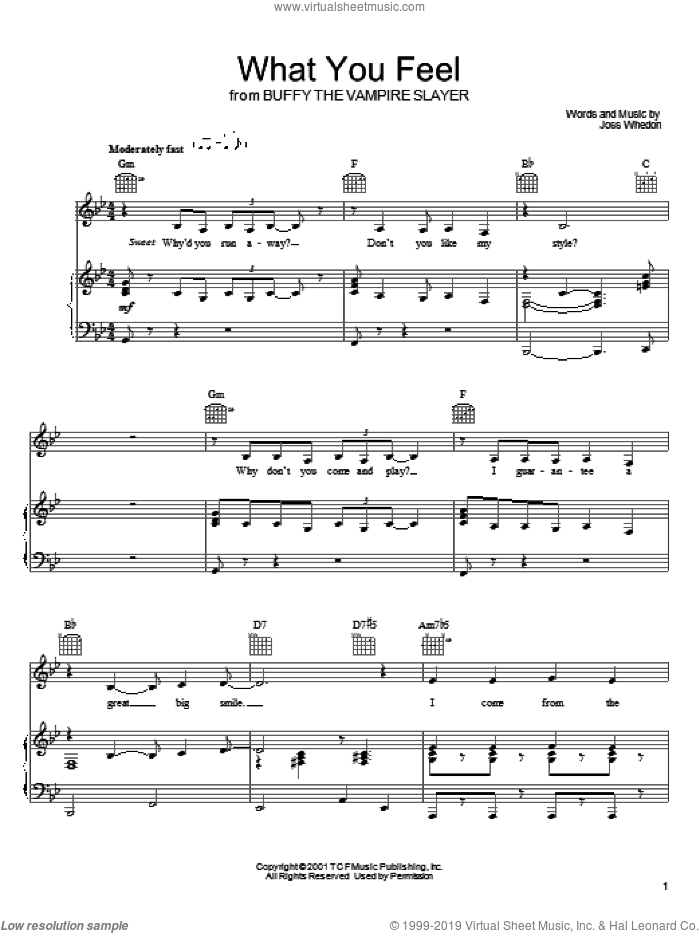What You Feel sheet music for voice, piano or guitar by Joss Whedon and Buffy The Vampire Slayer (TV Series), intermediate