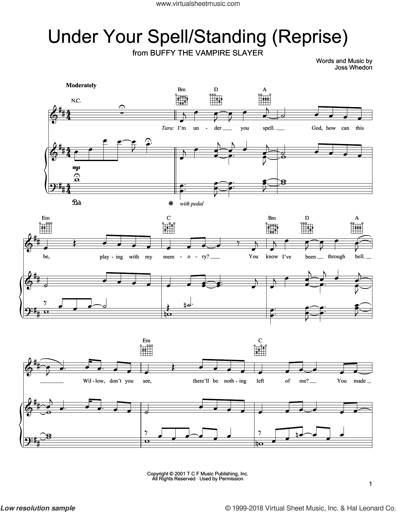 Under Your Spell/Standing (Reprise) sheet music for voice, piano or guitar by Joss Whedon and Buffy The Vampire Slayer (TV Series), intermediate skill level