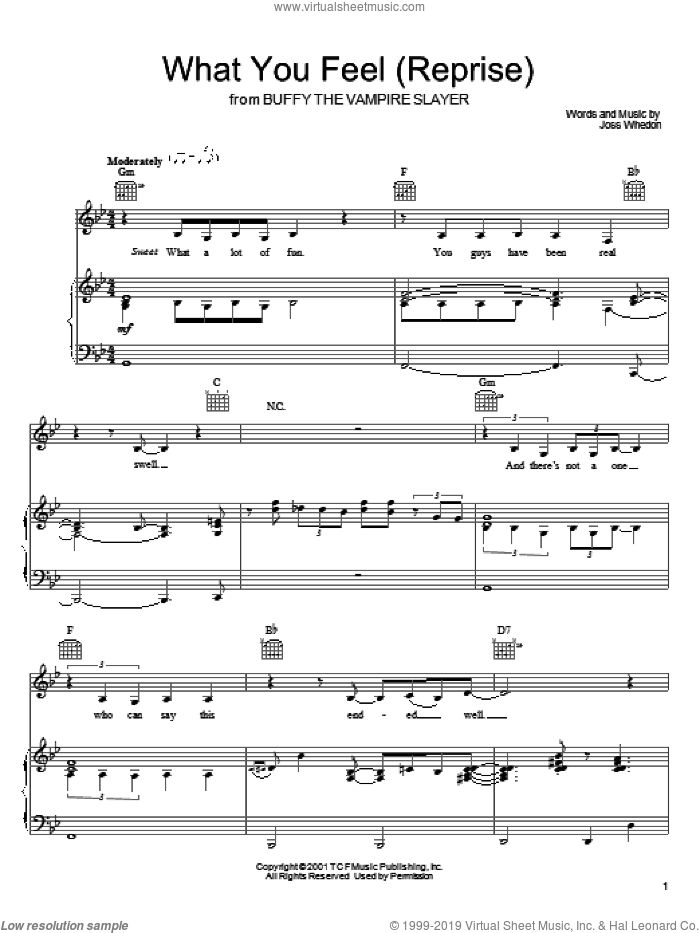 What You Feel (Reprise) sheet music for voice, piano or guitar by Joss Whedon and Buffy The Vampire Slayer (TV Series), intermediate skill level