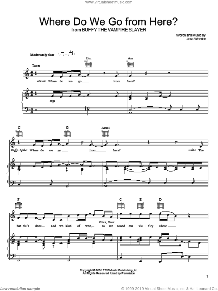 Where Do We Go From Here? sheet music for voice, piano or guitar by Joss Whedon. Score Image Preview.