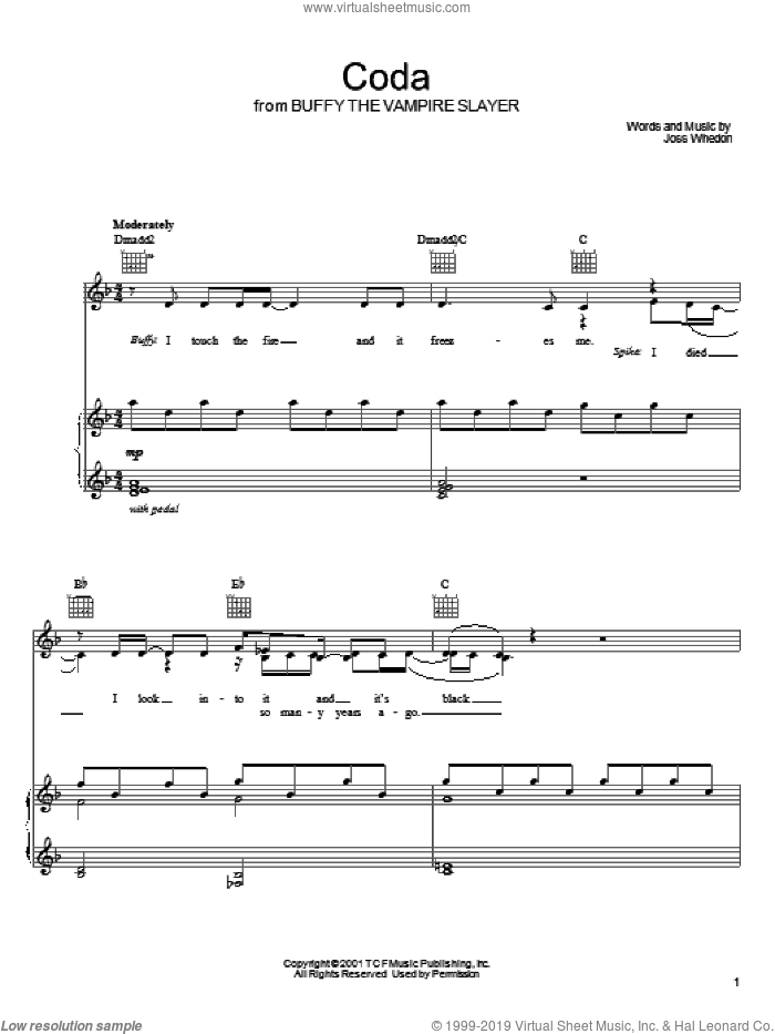 Coda sheet music for voice, piano or guitar by Joss Whedon and Buffy The Vampire Slayer (TV Series), intermediate skill level