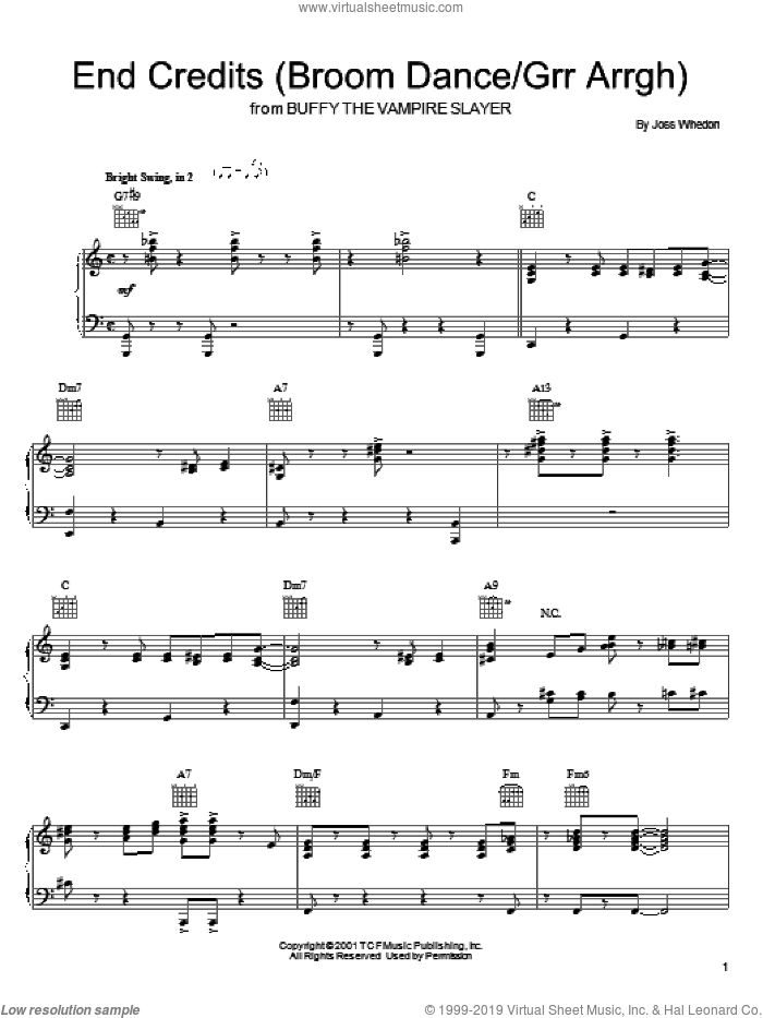 End Credits (Broom Dance/Grr Arrgh) sheet music for voice, piano or guitar by Joss Whedon and Buffy The Vampire Slayer (TV Series), intermediate skill level
