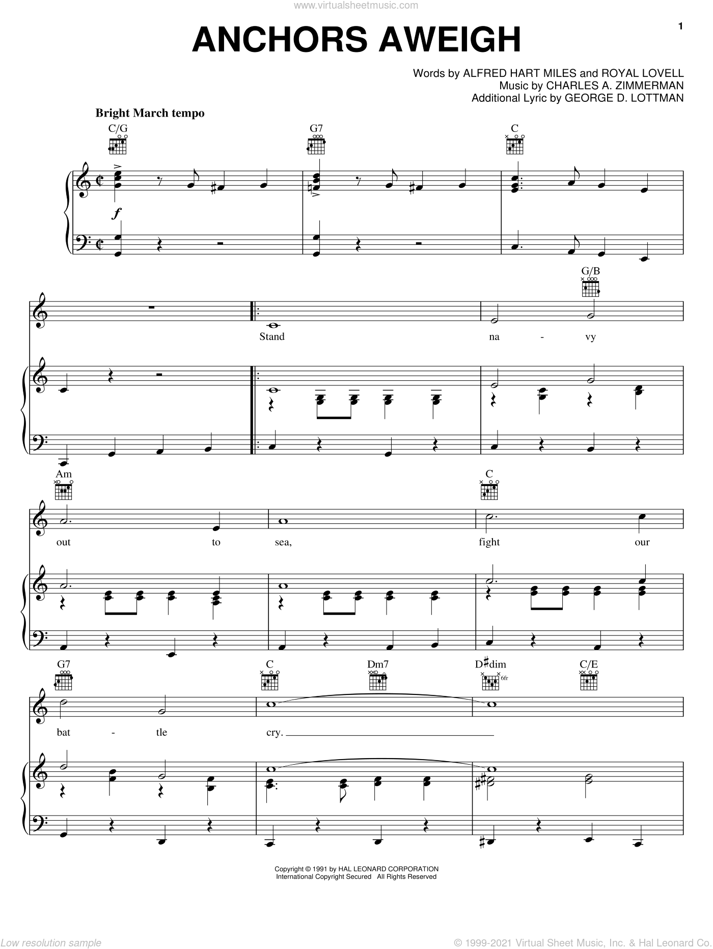 Anchors Aweigh sheet music for voice, piano or guitar by Alfred Hart Miles, Charles A. Zimmerman, George D. Lottman and Royal Lovell, intermediate skill level