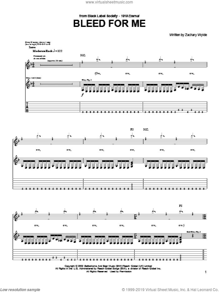 Bleed For Me sheet music for guitar (tablature) by Zachary P. Wylde, Black Label Society and Zakk Wylde. Score Image Preview.