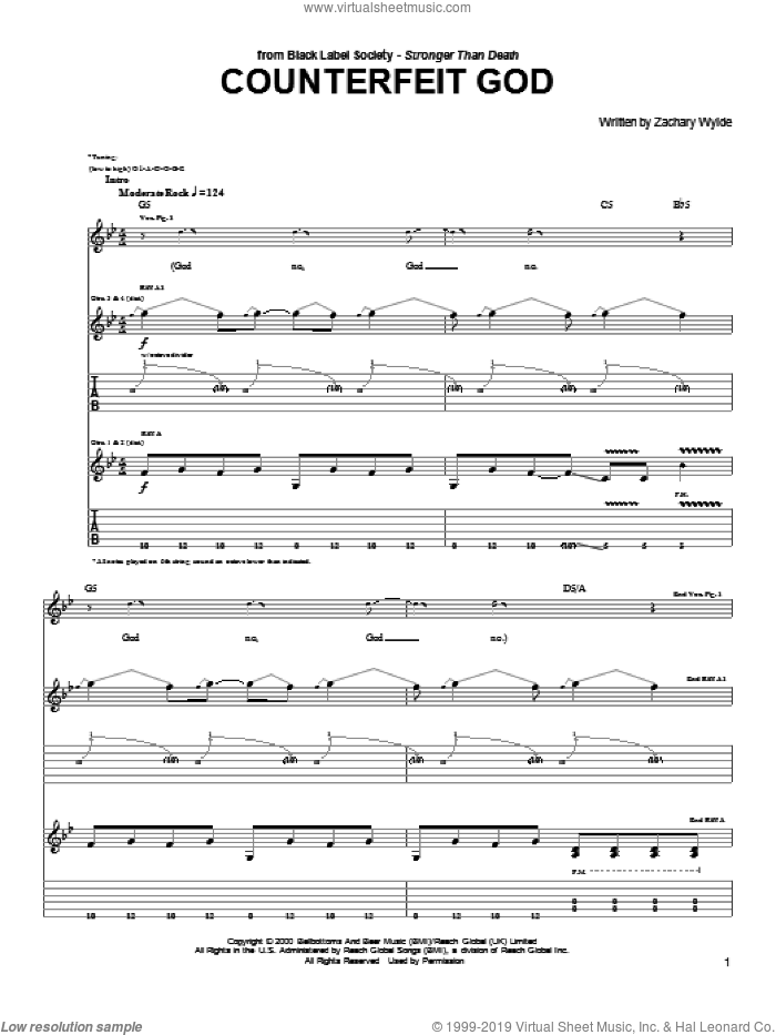 Counterfeit God sheet music for guitar (tablature) by Zachary P. Wylde, Black Label Society and Zakk Wylde