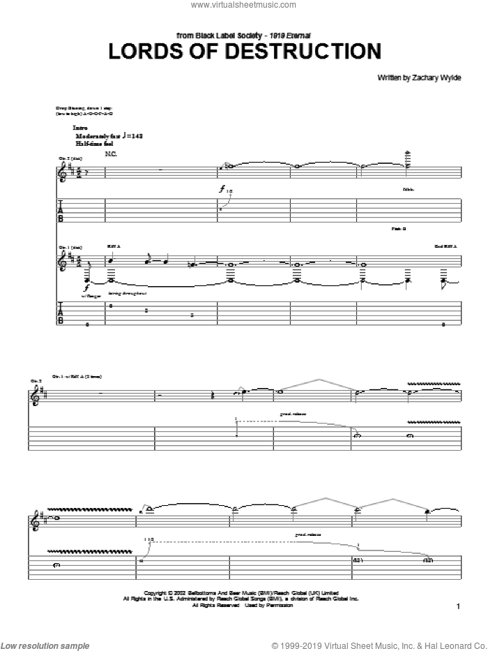 Lords Of Destruction sheet music for guitar (tablature) by Black Label Society and Zakk Wylde, intermediate