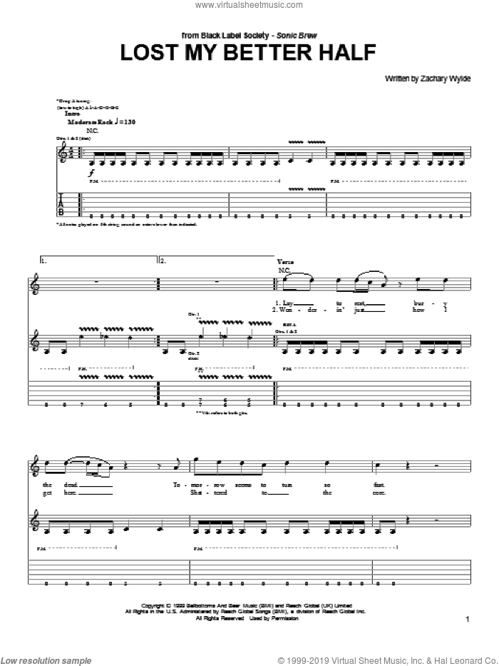 Lost My Better Half sheet music for guitar (tablature) by Black Label Society and Zakk Wylde, intermediate skill level