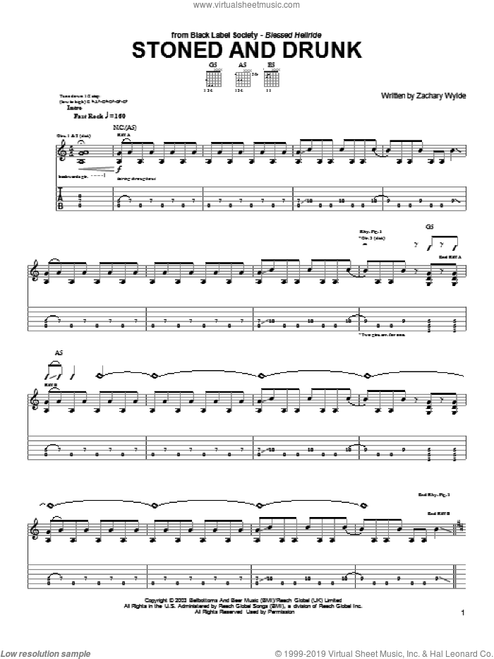 Stoned And Drunk sheet music for guitar (tablature) by Black Label Society and Zakk Wylde. Score Image Preview.