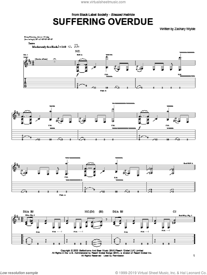 Suffering Overdue sheet music for guitar (tablature) by Zachary P. Wylde
