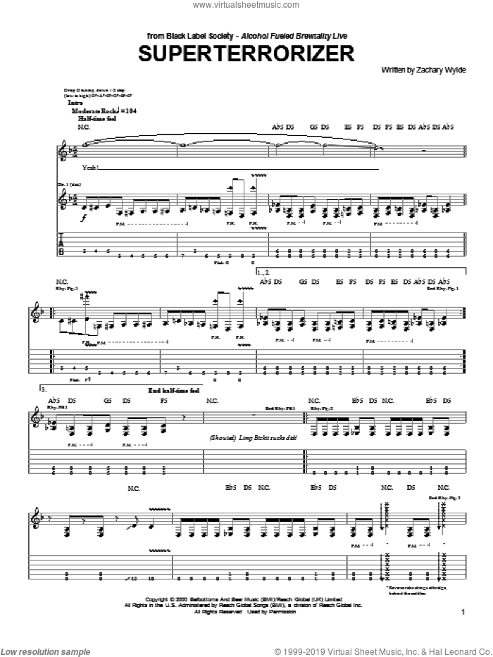 Superterrorizer sheet music for guitar (tablature) by Black Label Society and Zakk Wylde, intermediate. Score Image Preview.