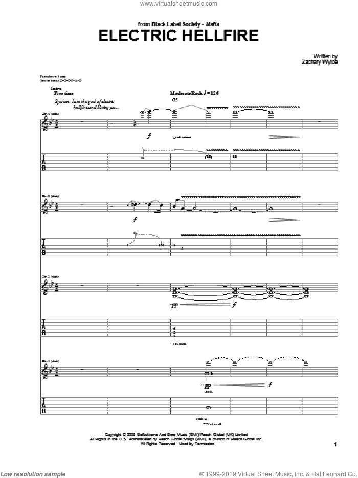 Electric Hellfire sheet music for guitar (tablature) by Black Label Society and Zakk Wylde and Zakk Wylde, intermediate. Score Image Preview.